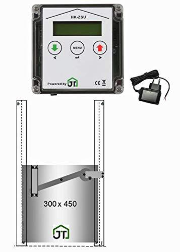 JOSTechnik JT-HK Entenklappe automatisch selbstverriegelnd mit Zeitschaltuhr 300 x 450 mm und echter Nothaltefunktion