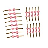 LONG TAO 200 Pcs Bowknot Tie Twist Ties For Cake Candy Cookie Bags Sealing Cello Bags Lollipop Gifts Packgae(Pink)