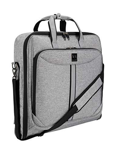 ZEGUR Kleidersack Anzughülle für bis zu 3 Anzüge, Kleiderhülle Handgepäckstück für Jede Reise Geschäftsreise - mit verstellbarem Schultergurt und Mehreren Taschen für weitere Gegenstände (Luxe grijs)
