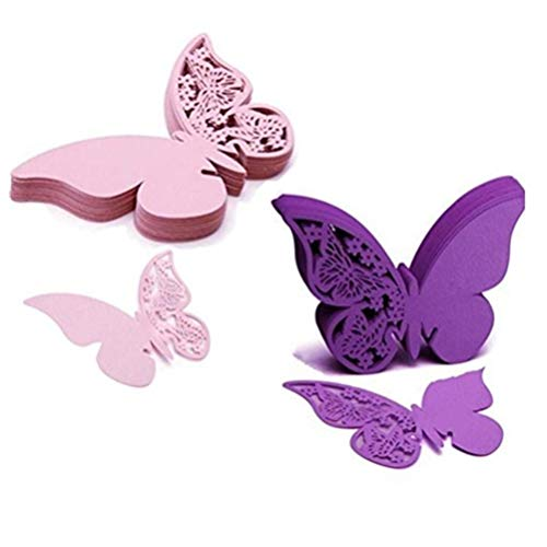 Eshylala 100 Pcs Butterfly Wine Glass Cards Laser Cut Name Place Cards Wine Cup Decoration Postcards Wedding Centerpieces Table Decoration (Pink&Purple)