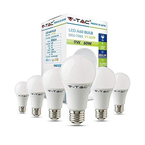 V-TAC E27 LED Lampe, 9W (ersetzt 60W), Tageslichtweiß, 6er-Pack