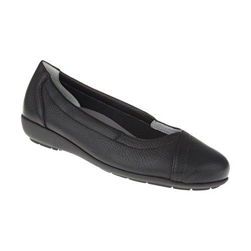 Natural Feet Damen Ballerina Christina | Echtes Hirschleder | Weite H | Hallux geeignet 40 schwarz