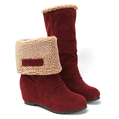 Snow Boots,Fheaven Women Fashion Fur Ankle Boots Heels Mid Calf Snow Boots (US:6.5, red)