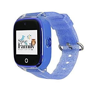 Reloj con GPS para niños SaveFamily Infantil Superior acuático Ip67 con cámara. Botón SOS, Anti-Bullying, Chat Privado, Modo Colegio, Llamadas y Mensajes. App SaveFamily. Incluye Cargador. Azul