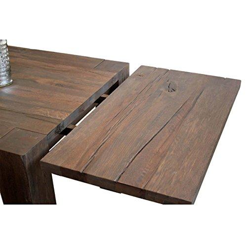 MÖBEL IDEAL Ansteckplatte für Esstisch Braxton, 100x50 cm, Massivholz Holz Eiche massiv verwittert antik