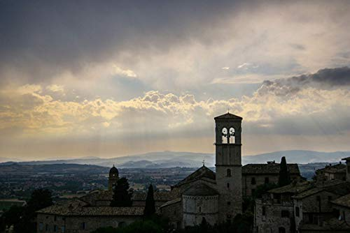 Wall Art Print on Canvas(32x21 inches)- Assisi Italy Church Tuscany Architecture Religion