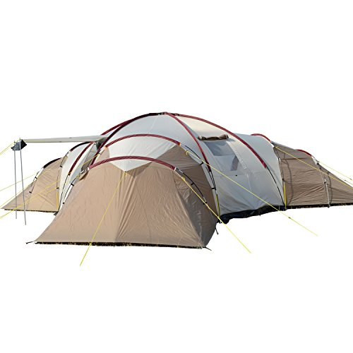 Skandika Turin 12 – Tente Camping Familiale 12 Personnes - 840x720x200cm - 3 cabines (Brun/Beige)