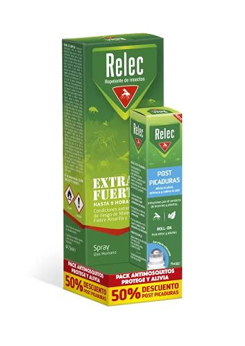 Pack Relec antimosquitos Spray Extra Fuerte + Relec Post-Picaduras – Spray repelente de mosquitos, con eficacia y protección contra el mosquito tigre, hasta 9h de protección contra los mosquitos