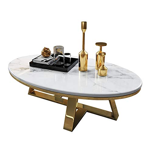 Modern Marble Coffee Table Oval Black/White Marble Side Table for Small Apartment Living Room Storage Decor, Metal Base in Golden - 80x50x45cm,100x60x45cm