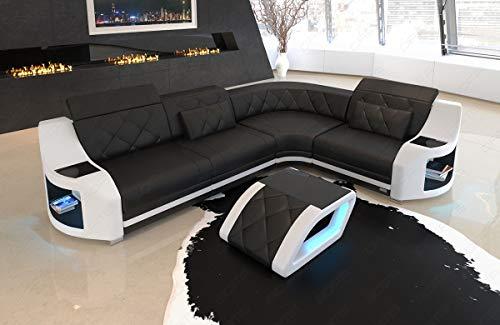Sofa Dreams Genua Leren hoekbank met ledverlichting