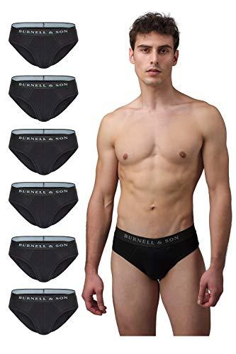 Burnell & Son Slips Herren schwarz weiß grau blau 6er Pack Unterhosen Männer aus atmungsaktiver Baumwolle, S–XXL, Schwarz, S