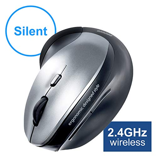 SANWA (Japan Brand) Vertical 2.4GHz Wireless Mouse, Silent Noiseless Click, Blue LED Ergonomic Computer Mice, 5 Levels Adjustable DPI, Compatible with MacBook, Laptop, Windows, Mac OS, Silver