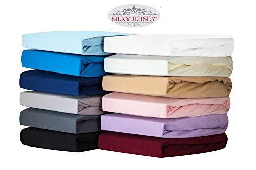Silky Jersey - Hoeslakens 100% Katoen - Jersey-stretch met een zacht gevoel - Perfecte Pasvorm, strijk en kreukvrij met elastische band en ruime hoek van 30cm - Twijfelaar 120x200x30 Wit