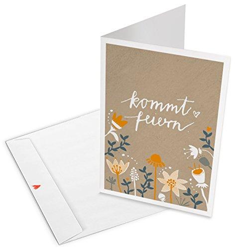 10 Einladungskarten mit Umschlag, Kommt feiern! Klappkarten, Beige Orange mit Blumen, geschmackvolle Einladung zu Hochzeit, Geburtstag und Jubiläum aus hochwertigem Recyclingpapier
