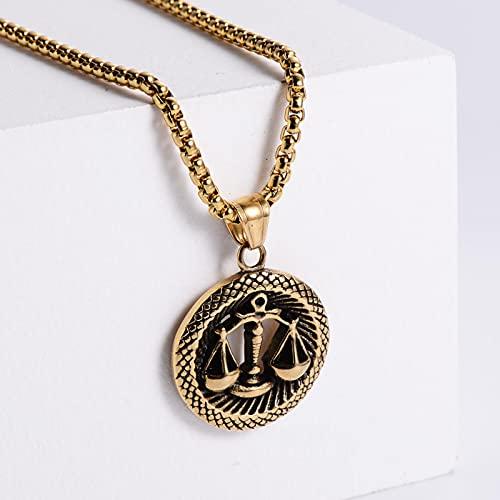 Hombres Mujeres 12 Horóscopo Signo del Zodiaco Collar con Colgante de Oro Aries Leo 12 Constelaciones Joyería