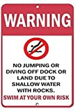 Warning No Jumping Diving Due to Shallow Water Rocks Metallschilder Private Property Warnschild