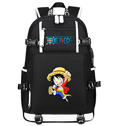 ZZGOO-LL One Piece Monkey·D·Luffy/Roronoa Zoro Anime Laptop Backpack Bag Travel Laptop Daypacks Lightweight Bag with USB-D