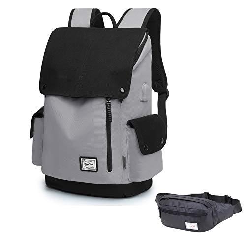 WindTook Canvas Backpack Daypack 15 Zoll Laptop Rucksack Schulrucksack Tagesrucksack mit USB Anschluss für Uni Büro Alltag Freizeit, Grau mit Bauchtasche Schwarz, Geschenk