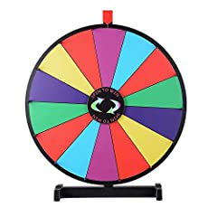 "WinSpin® 24"" Prize Wheel with 14 Customizable Acrylic Slots - can be written and dry-erased to customize the slots for advertising logo or displaying text Upgraded acrylic board and sturdy stand will not make the wheel slip or wobble while spinning o..."