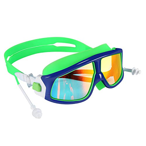 Spinosaurus Kids Swim Goggles(Age 3-15 Years), Fashionable, Anti-Fog,UV Protection, No Leaking, Coated Lens,with case and earplugs, HD Swim Goggles for Kids Youth and Teenagers (Blue Green)