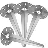 dszapaci 4X Erdspieß für Gartenleuchte verzinkt 30 cm tief Metall Spieß für Steckdosensäule Teller Rund ?18cm Gartenspieß Bodenspieß für Lampen oder Außenleuchten