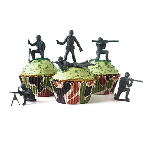 Cakegirls (24 Green Toy Soldiers Cupcake Topper Kit - Army Soldiers, Camo Baking Cups, Green Sugar Sprinkles