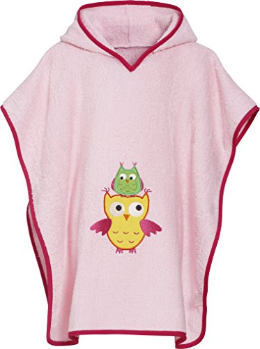 Playshoes Mädchen Frottee-Poncho Eule Bademantel, rosa, L