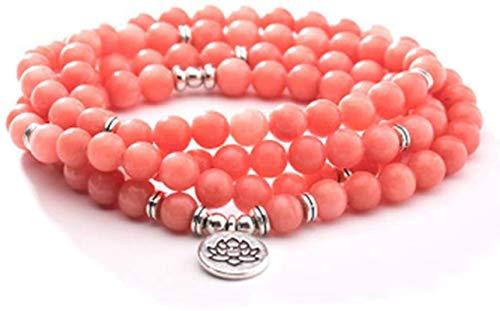 HYJMJJ Pulsera Feng Shui Bead Collar de Pulsera de Jade Rosa de Moda - 8mm 108 Perlas de oración Pulsera Colgante de Loto: una Variedad de Colgantes para Elegir Pulsera de Abalorios de Amuleto