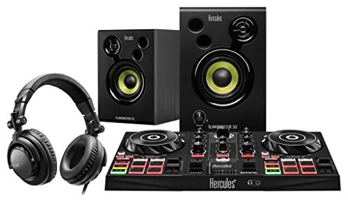 Hercules DJ Learning Set (All-in-One-Set Learning Kit mit DJ-Controller Monitor & Kopfhörer) Schwarz