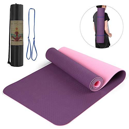 LRHYG Yogamatte Gymnastikmatte 72.05×24.01in Dicke 8mm Tragbar Zweifarbige rutschfeste Matte Geeignet Für Fitness, Pilates, Gymnastik (Color : Color 1)