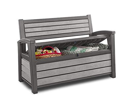 Koll Living Gartenbank mit 227 Liter Stauraum - bietet Platz für allerhand Utensillien wie Sitzauflagen, Spielzeug oder Gartengeräte - aus UV-beständigem Kunststoff - Belastbar bis 272 kg (Grau)