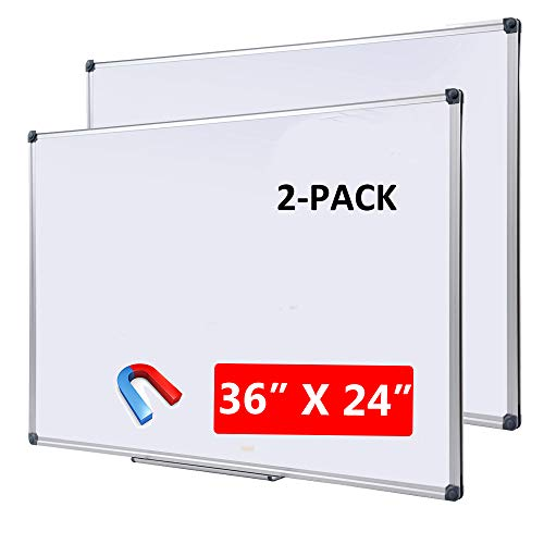 """DexBoard Magnetic Dry Erase Board with Removable Marker Tray  Commercial Quality Wall-Mounted Aluminum Message Presentation White Board for Kids, Students & Teachers (36"""" x 24""""-2 Pack)"""