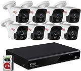 Tonton Pro + 4K 8CH videovigilancia NVR 8x5MP PoE Conjunto de cámara de vigilancia para Audio en Interiores y Exteriores, Sensor de Calor PoE PIR, aplicación Alemana, Seguridad de la casa 2TB