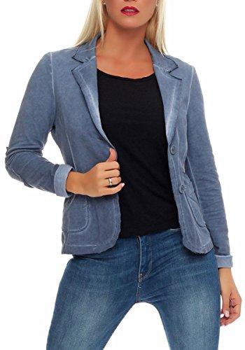 Malito Damen Blazer im Washed Style | Sakko im Basic Look | Kurzjacke mit Knöpfen | Jacke - Jackett - Blouson 1652 (Jeansblau, M)