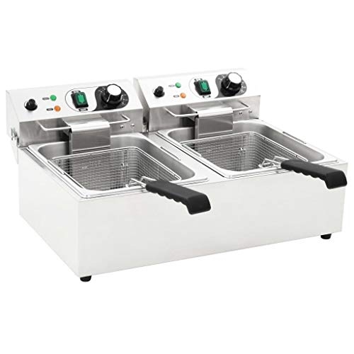 Tidyard Freidora eléctrica Freidora Industrial Acero Inoxidable para Patatas Doble de Acero Inoxidable 20 L 6000 W