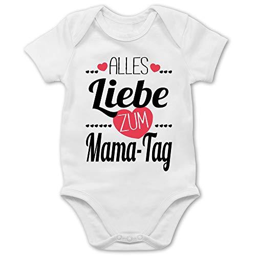 Shirtracer Muttertagsgeschenk Tochter & Sohn Baby - Alles Liebe zum Mama-Tag Herzchen - 18/24 Monate - Weiß - Alles Gute Body - BZ10 - Baby Body Kurzarm für Jungen und Mädchen