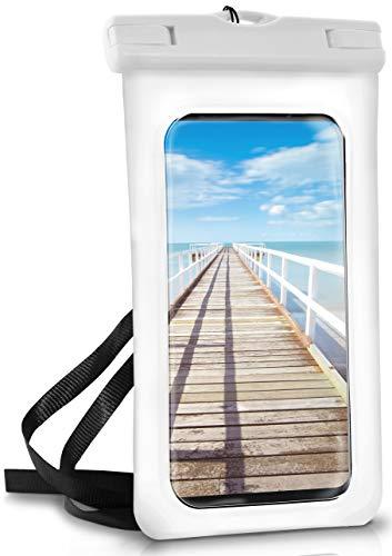 ONEFLOW wasserdichte Handy-Hülle für alle ZTE Modelle | Touch- & Kamera-Fenster + Armband und Schlaufe zum Umhängen, Weiß (Pear-White)