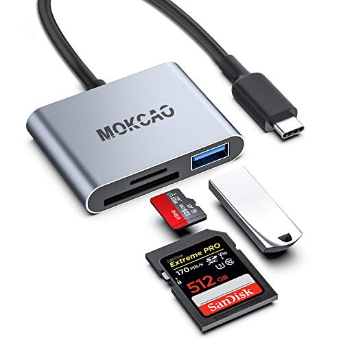 """SD Card Reader USB C, MOKCAO 3 in 1 Type C Micro SD TF Card Adapter 2T Capacity Camera Memory Cards Suitable for MacBook Pro iPad Pro 11""""/12.9"""" 2018 Samsung Galaxy S10/S9/S8"""