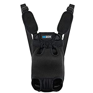 gaxco Pet Carrier Backpack, No Zipper Dog Backpack Carrier, Legs Out Adjustable Dog Carrier Front Pack, Safe for Hiking Camping Traveling for Medium Small Dogs