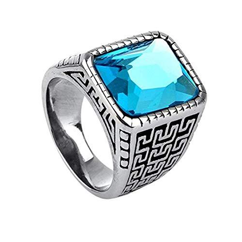 HIJONES Plata Anillo Grabado para Hombre Acero Inoxidable con Azul Claro Piedra Preciosa Tamaño 14