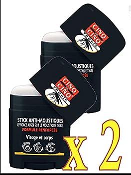 Cinq sur Cinq - Cinq sur Cinq Tropic Stick -l Stick de protection anti-moustiques pour zones tropicales, protection durant 8 heures - Lot de 2 Sticks de 20ml