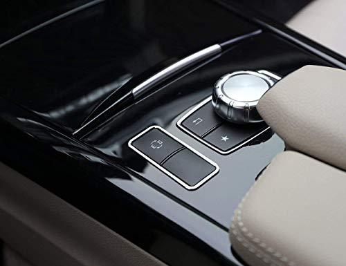 GJJSZ Kompatibel mit E-Klasse W212 C207 E350 Coupé 2013-2017 E200 E260 Autobro Aluminiumlegierung Auto Innen ES Knopfrahmen Verkleidung Silber