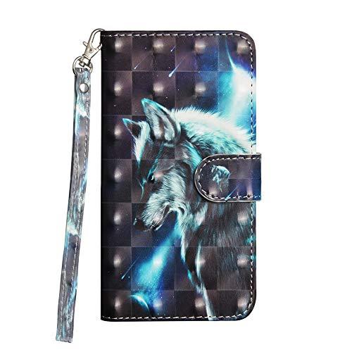 Sunrive Hülle Für ZTE Blade A512, Magnetisch Schaltfläche Ledertasche Schutzhülle Etui Leder Hülle Cover Handyhülle Tasche Schalen Lederhülle(Wölfe)