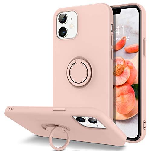 BENTOBEN iPhone 12 Hülle iPhone 12 Pro Handyhülle Mit Ring Halter Handschnur, iPhone 12 Pro Silikon Case Slim Kratzfest Gummi mit innem Microfaser Tuch Hülle für iPhone 12 Pro/iPhone 12 6.1'' Rosa