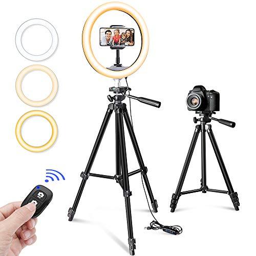 10自拍环型灯带三脚架及化妆手机座和YouTube直播,Torjim可调光LED相机美容环形灯灯带3种轻模式及11个的亮度水平