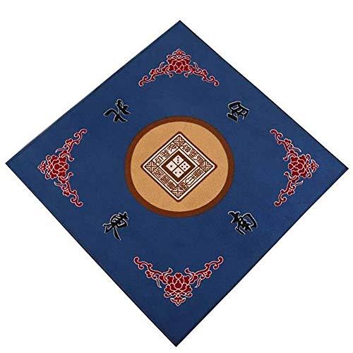 Mahjong Tischset Tuch Spieltisch Abdeckung Matte Mahjong Tischdecke Rot Rutschfeste Stille Platz Für Familie Party Game Mahjong Kartenspiele (80 CM X 80 CM),Blue