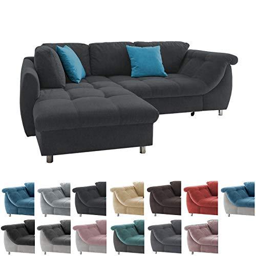 lifestyle4living Ecksofa mit Schlaffunktion | Eckcouch Eckgarnitur Polsterecke L Couch Sofa L Form | Wohnlandschaft inkl. Rückenkissen und Zierkissen | Stoff Schwarz