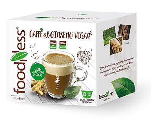 FoodNess - 50 Capsule +10 omaggio caffè al ginseng vegan con zucchero di cocco compatibile con sistema Dolce Gusto privo di latte,derivati e glutine