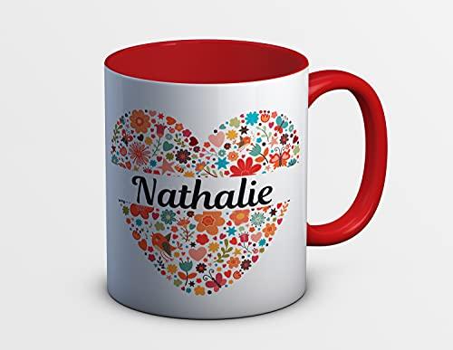 C29 Mug Coeur rouge à personnaliser - tasse à café - cadeau personnalisé - prénom - cadeau anniversaire - cadeau de noël - mug à thé