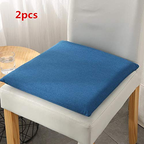 Ecloud Shop 2PCS Stuhlkissen Quadratisches Sitzkissen Esszimmerstuhl Kissen Einfaches einfarbiges Kissen Memory Foam Stuhlkissen für die Außenterrasse Office-Blau